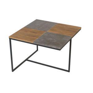 Стол журнальный  Фьюжен квадро дуб американский/ серый бетон